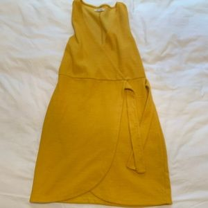 Yellow Linen Madewell Wrap Dress, size small